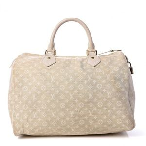 Authentic LOUIS VUITTON Mini Lin Speedy 30 Dune